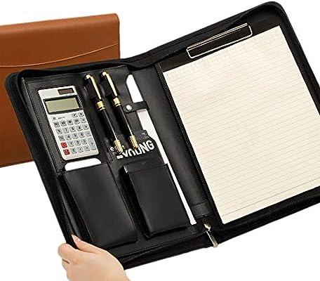 Carpeta Portadocumentos A4 Cuaderno portafolios Documento Bolsa A4 postal de cuero Conferencia carpetas de negocios combinación de aglutinantes Negro Marrón para la Oficina de la Escuela de Negocios: Amazon.es: Hogar