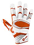 Cutters Gloves Rev Pro 2.0 Receiver Football Gloves, White/Orange, Medium