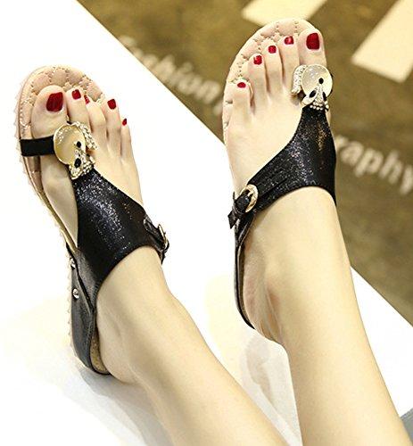 Minetom Mujer Verano Casual Diamantes De Imitación Sandalias Chanclas Planos Deslizamiento En La Comodidad Zapatos Piso Negro