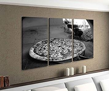 Amazon.de: Leinwandbild 3 tlg Pizza Ofen Feuer Steinofen ...