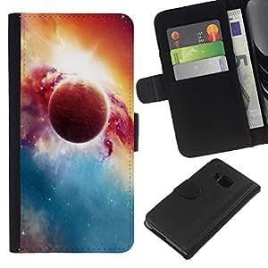 Planetar® Modelo colorido cuero carpeta tirón caso cubierta piel Holster Funda protección Para HTC One M9 ( Beautiful Planet & Sun )