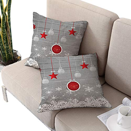 Josepsh Christmas Square futon Cushion Cover,Traditional Celebration Theme with Pendant Stars Baubles Ornate Snowflakes Grey Red White W18 xL18 2pcs Cushion Cases Pillowcases for Sofa Bedroom Car
