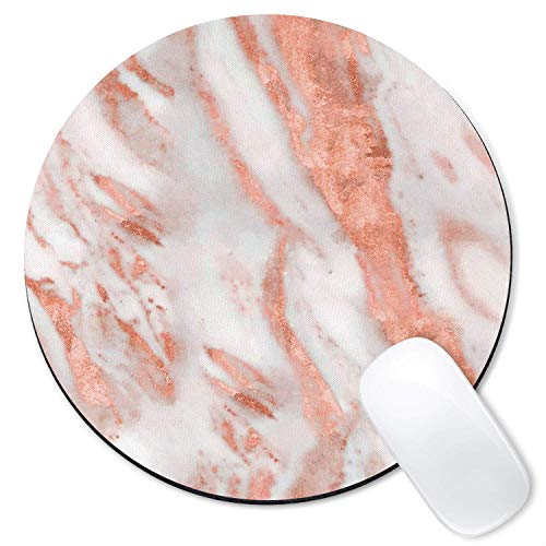 Galdas Mouse Pad Rose Gold Marble Mousepad Non-Slip Rubber Base Round Mouse Pads for Computers Laptop