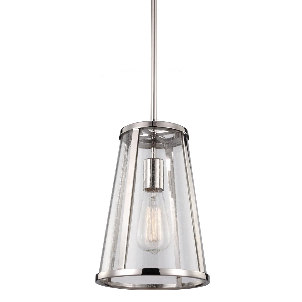 Feiss P1289PN Harrow Glass Pendant Lighting 1-Light 60watts 1-Light 16Dia x 17H 16Dia x 17H Chrome 60watts