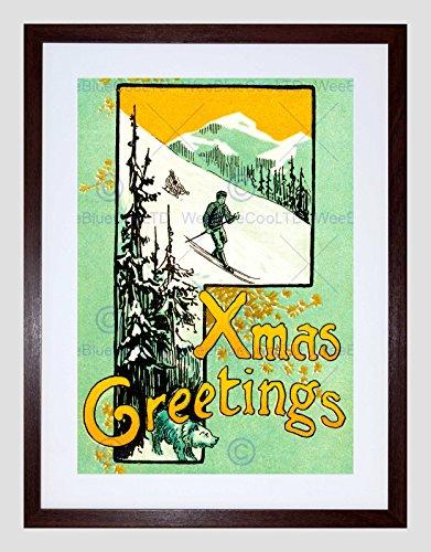 The Art Stop Christmas Card Xmas Greetings Snow SKI Tree Mountain Framed Print B12X11990 ()