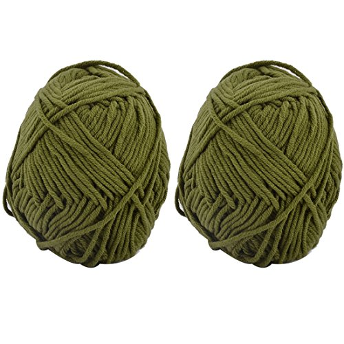 uxcell Family DIY Sweater Hat Slipper Weaving Braided Cord Knitting Yarn 100g 2pcs Olive (Cotton Braided Olive)