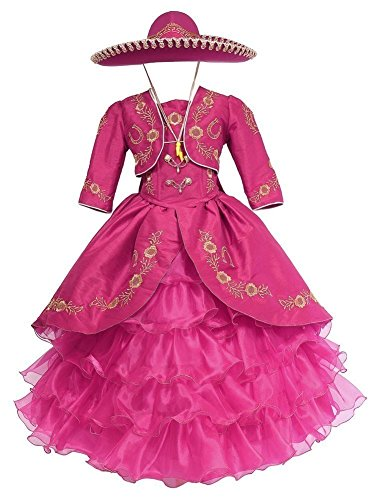 Calla Collection USA Big Girls Fuchsia Gold Ruffles Embroidery Bolero Hat Mariachi Dress 12]()