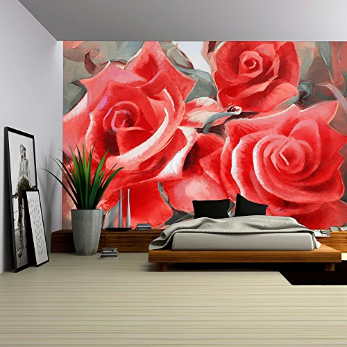 Hand Painted Wall Mural - wall26 - red roses motif hand painted oil on canvas - Removable Wall Mural | Self-adhesive Large Wallpaper - 100x144 inches