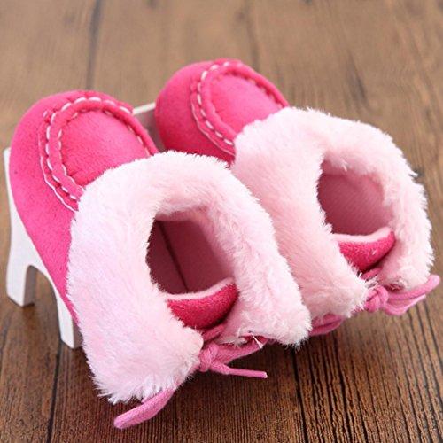 Hunpta Babyschuhe Mädchen Jungen Lauflernschuhe Baby Schneestiefel weiche Sohle weiche Krippe Schuhe Kleinkind Stiefel (12, Hot Pink) Hot Pink