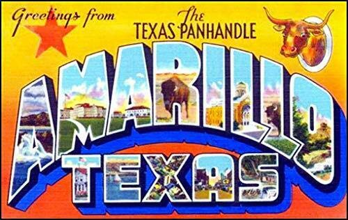 MAGNET 3x5 inch Vintage Greetings from Amarillo Sticker (Old Postcard Logo Texas tx) Magnetic vinyl bumper sticker sticks to any metal fridge, car, -