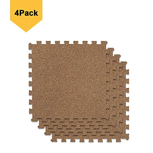 BOEISEN Cork Mat Grain Interlocking Foam Floor Mat Exercise Mat 19.7 x 19.7 x 0.4inch, Pack of 4, Perfect for Pilates, Yoga, Fitness and Kids Playrooms by BOEISEN