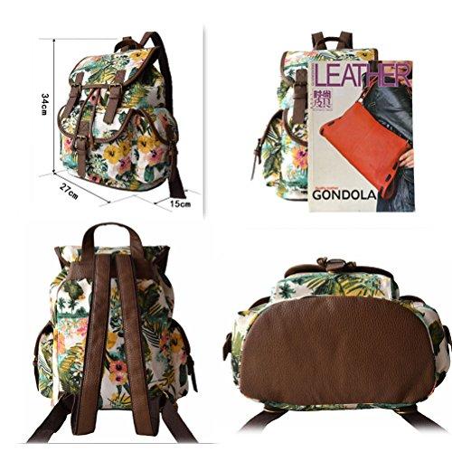 Backpack School Women Bookbag Canvas Rucksach Flowergreen Donalworld Satchel q7awEw
