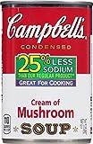 Campbell's Condensed Soup, 25% Less Sodium Cream of Mushroom, 10.5 oz