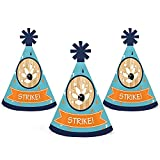 Strike Up the Fun - Bowling - Mini Cone Birthday Party or Baby Shower Hats - Small Little Party Hats - Set of 10