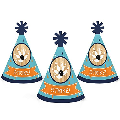 Strike Up the Fun - Bowling - Mini Cone Birthday Party or Baby Shower Hats - Small Little Party Hats - Set of 10 by Big Dot of Happiness
