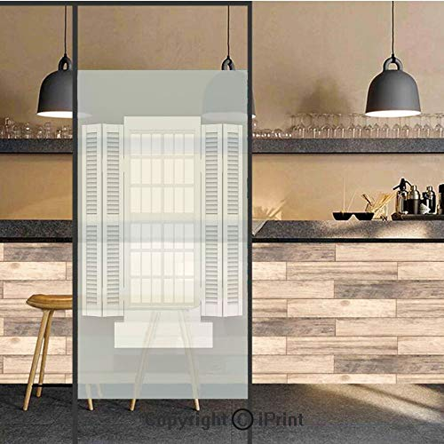 (3D Decorative Privacy Window Films,Graphic Illustration of Wooden Window Shutters Traditional Style Anthique Home Boho,No-Glue Self Static Cling Glass film for Home Bedroom Bathroom Kitchen Office 24x)