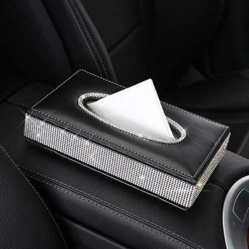 (U&M PU Leather Tissue Box Holder, Bling Bling Crystal Rectangular Napkin Holder Pumping Paper Case Dispenser for Home Office Car Auto Decor)
