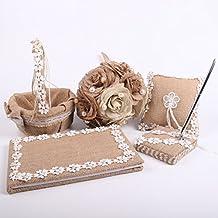 Junxia Natural Burlap Wedding Accessories Guest Book+Ring Basket+Burlap Pillow +Pen Set + Bridal Bouquet Wedding Decoration