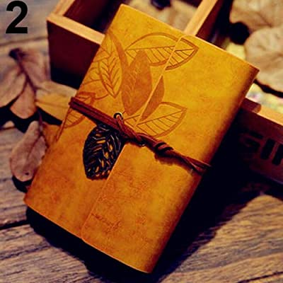Powerfulline Diary Book Vintage Faux Leather Leaf String Bound Blank Kraft Paper Diary Journal Notebook - Yellow: Toys & Games