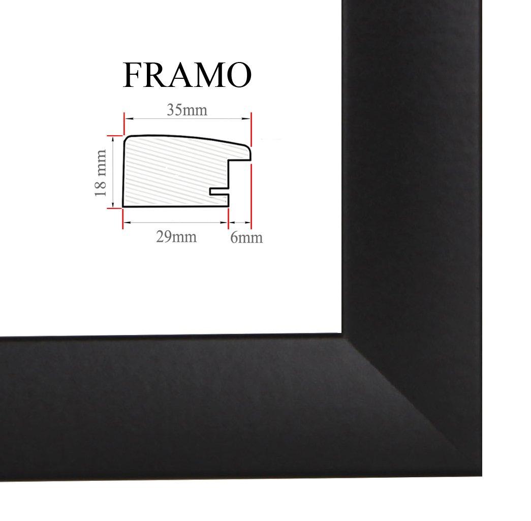 FRAMO 35 mm Bilderrahmen für 84 x 58 cm Bilder, Farbe: Schwarz Matt ...