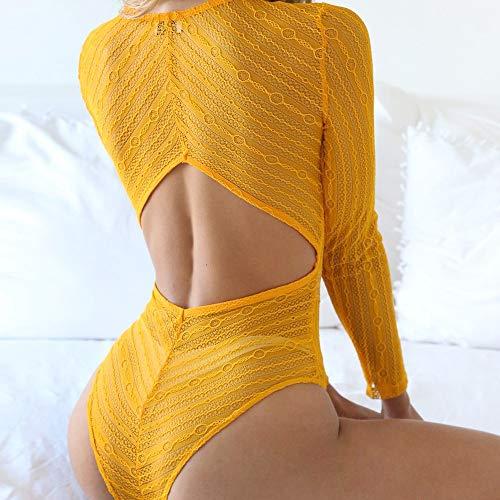 Pantalón Body Skinny Sexy Mono Femme De ALIKEEY Larga Playsuit De Mujeres Manga V Cuello En con Amarillo Mameluco pqxS6Bpw4