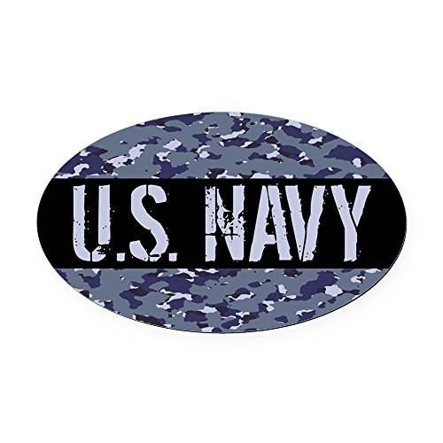 CafePress - U.S. Navy: Camouflage (NWU I Color - Oval Car Magnet, Euro Oval Magnetic Bumper Sticker Navy Car Magnets