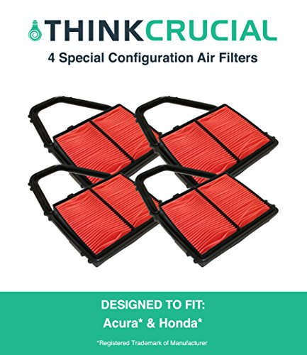 4 Replacements for Acura / Honda Special Configuration Vehicle Air Filter, Maximum Air Flow, 6.88 x 3.13 x 5.42 in., Compatible With Part # A35397 & CA8911, by Think Crucial