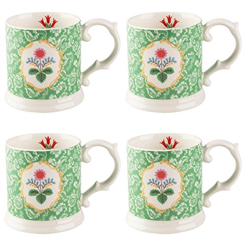 (Katie Alice Festival Folk Ceramic Mugs, 320 ml - Green (Set of 4) )