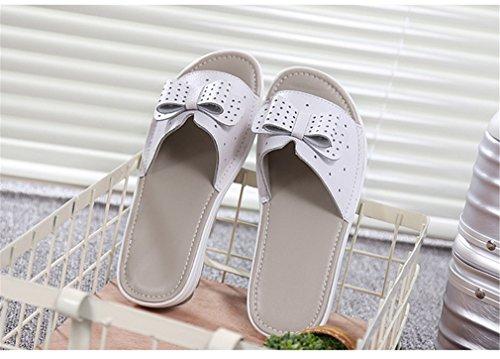 Appartements Tongs Cuir Plage De Cales Pour Sandales White Lady Chaussures Vache Femme Shoe Femmes Plate forme Diapositives Summer 7EqX7RncOz