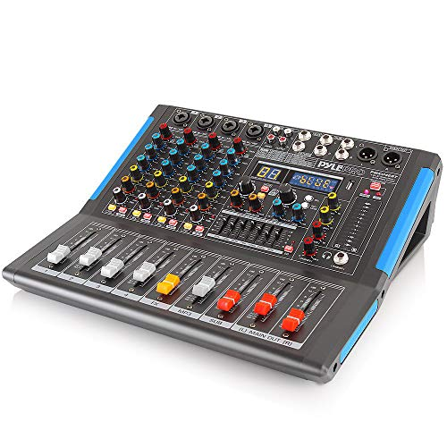 4-Channel Bluetooth Studio Audio Mixer - DJ Sound Controller Interface with USB Drive for PC Recording Input, XLR Microphone Jack, 48V Power, Input/Output for Professional and Beginners - PMXU46BT
