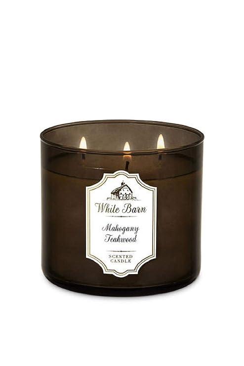 Bath Body Works White Barn 3 Wick Candle Mahogany Teakwood