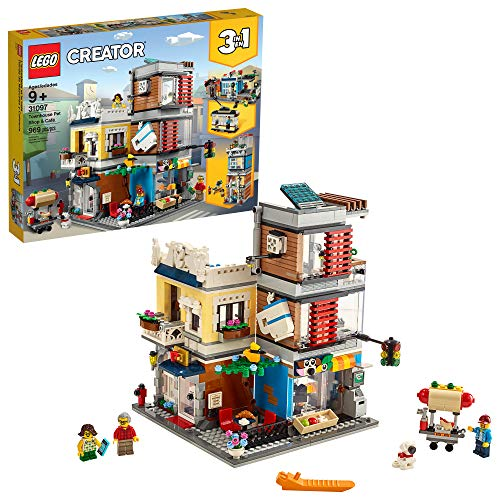 LEGO Creator 3-in-1 Townhouse Pet Shop & Café 31097 Toy Store Building Set with Bank, Town Playset with a Toy Tram, Animal Figures and Minifigures, New 2019 (969 Pieces)