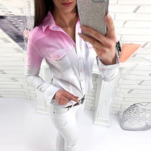 XL Manche Printemps Longue Top Femme et Casual Boutons Chemise S Chemisier Chic Turn Gris lgant T Col Shirt Down Unie Couleur Blouse Automne rrd61w