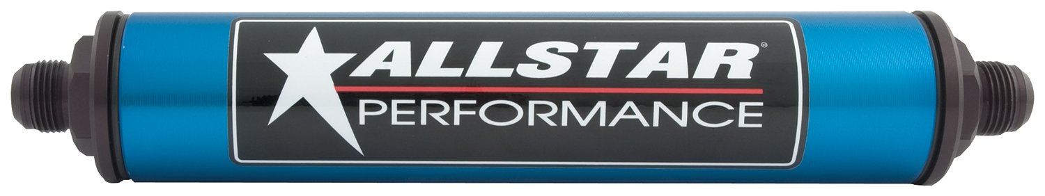 Allstar ALL40218 Blue 12'' Long x 2'' Diameter Anodized Aluminum -8 AN Inlet/Outlet In-Line Fuel Filter