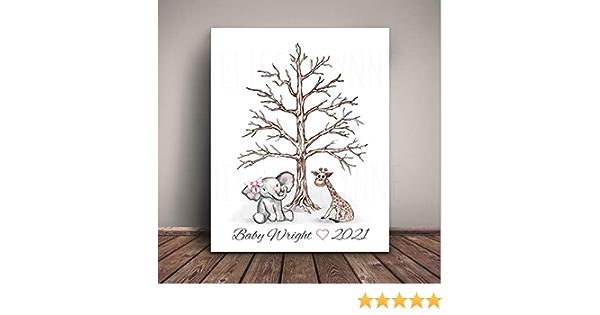 Art Print WE-LBT-TH Fingerprint Tree Elephant Baby Shower Watercolor Elephant Guest Book Thumbprint Tree