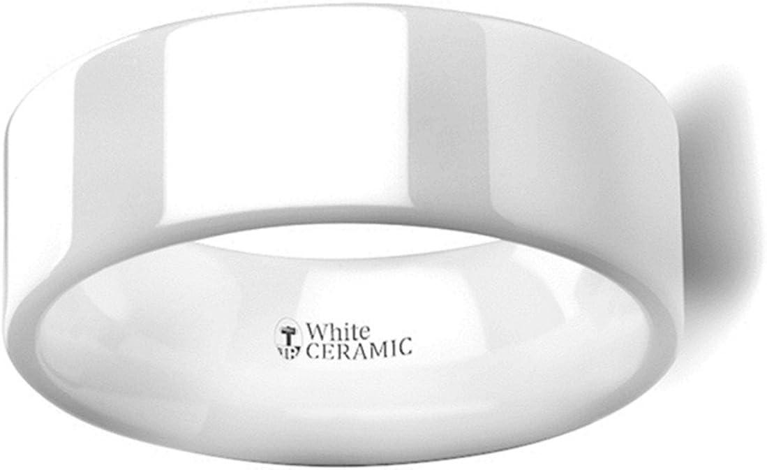 Thorsten Lucent Flat Polish Finished White Ceramic Wedding Ring 8mm Wide Wedding Band from Roy Rose Jewelry