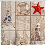 Fishing Net Shower Curtain BROSHAN Beach Sea Shell Shower Curtain, Coastal Nautical Starfish Lighthouse Sailboat Fishing Net Ocean Marine Bath Curtain Art Print,Polyester Fabric Bathroom Decor Set with Hooks,72 x 72 inch,Beige