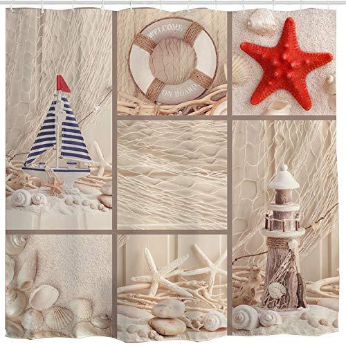 Lighthouse Sailboat - BROSHAN Beach Sea Shell Shower Curtain, Coastal Nautical Starfish Lighthouse Sailboat Fishing Net Ocean Marine Bath Curtain Art Print,Polyester Fabric Bathroom Decor Set with Hooks,72 x 72 inch,Beige