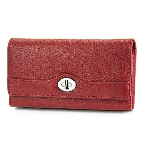 MUNDI File Master Pebble Pattern Womens Wallet Clutch Organizer With Zipper Pockets - Red