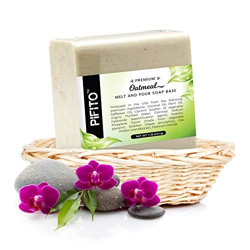 Pifito Premium Oatmeal Melt and Pour Soap Base (5 lb) - Natural Vegetable Glycerin Soap Base - Excellent Hand Soap Base Making ()