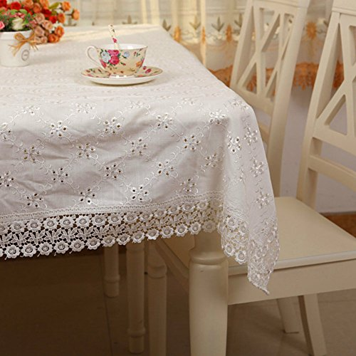 Fabric Linen Tea Table Cloth Table Cloth,Square Rectangular Table Cloth,White Desk Towel-A 130180cm(51x71inch)
