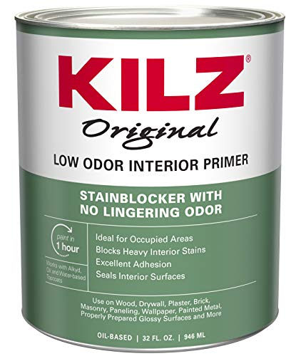 KILZ Odorless Interior Oil-Base Primer/Sealer/Stainblocker, White, 1-Quart