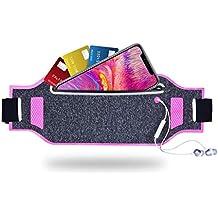 "Tenplus Running Belt Waist Pack Compatible Sharp A2 Lite FS8026 5.7"", Ultra-Slim Waterproof Reflective Fanny Pack with Adjustable Elastic Strap, Headphone Jack for Travel Workout Jogging (Pink)"