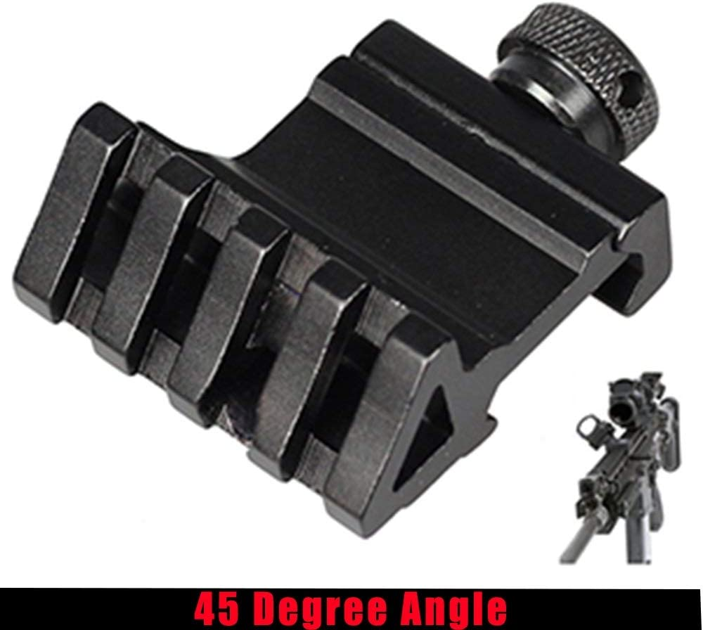 NO LOGO Lixia-Scope /Ámbito t/áctico de /ángulo de 45 Grados for Montaje Offset de Aluminio Riel Lateral de 4 Ranuras RTS Sight Rail Airsoft 45mm Picatinny Laser Adapter Black