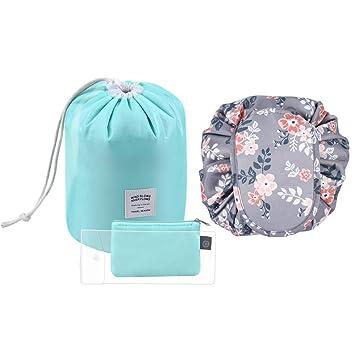 6cd87e9c62 Amazon.com   Tinbrot Travel Makeup Bag Set - 2 PCS Waterproof Cosmetic Bags  Large Capacity Lazy Makeup Bag Portable Drawstring Toiletry Bags  Multifunction ...