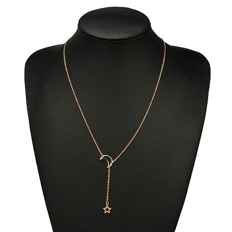 TINGSU Collar, Collar de mujer con colgante de estrella de la luna, cadena larga, joyería simple (plata): Amazon.es: Belleza