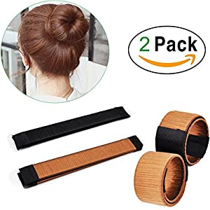 ZDU 2 Pcs Hair Styling Disk Donut Bun Maker Former Foam French Twist Hairstyle Clip DIY Doughnuts Hair Bun Tool