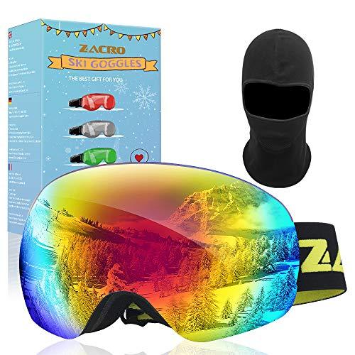 GapdiceEK Zacro Ensemble de Lunettes de Ski,UV400 et Anti-Brouillard à Double Enduit,Conception OTG, Vrai Revo Lunettes,Convient pour Le Ski, Le Snowboard,l'escalade sur Glace,Le Ski Alpin,(Vert)