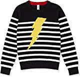 #7: Kid Nation Kids' Long Sleeve Sweater for Boys or Girls Casual Round Neck Stripe Pullover With Lightning Decoration