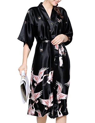 Aensso Women's Kimono Long Robe Short Sleeve Bathrobe Lightweight Silky Nightgowns